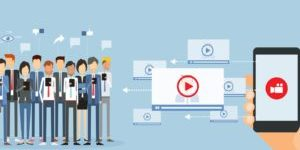 flat vector business video marketing content online and video video sharing on mobile concept